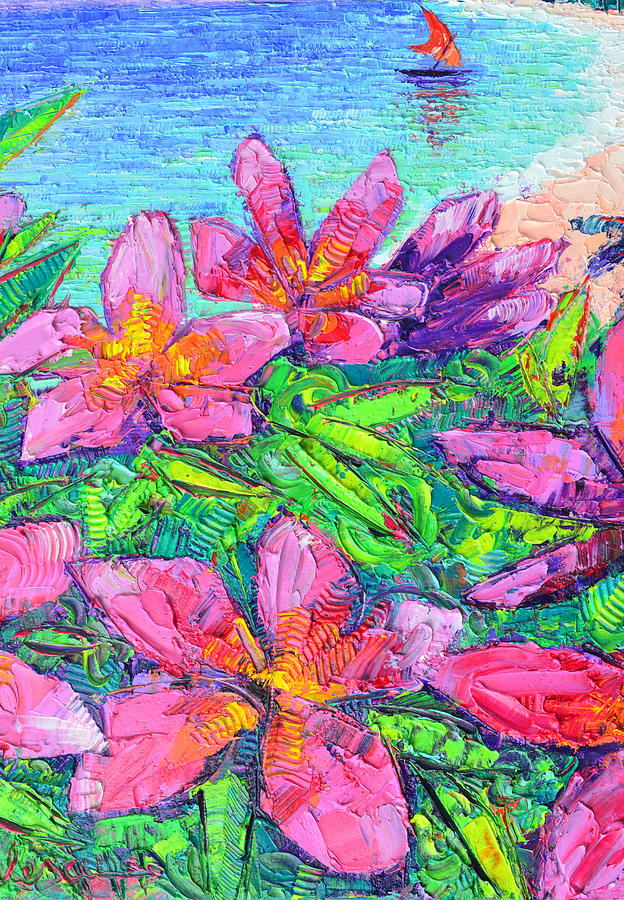 PINK PLUMERIA modern textural impressionist impasto palette knife oil painting by Ana Maria Edulescu by ANA MARIA EDULESCU