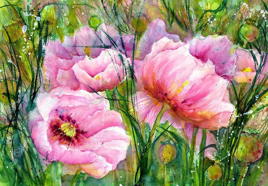 Pink Poppy Flowers by Sabina Von Arx