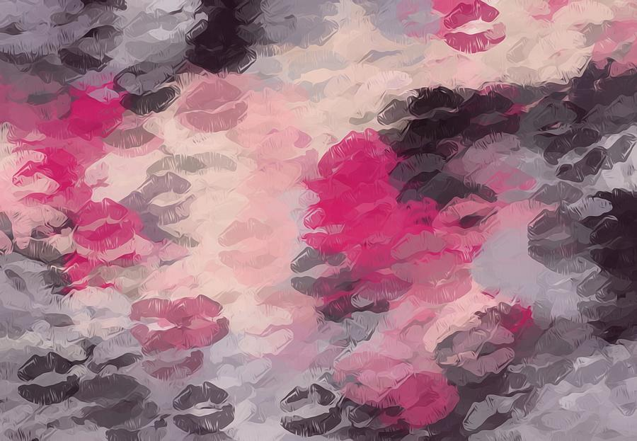 Pink Purple And Black Kisses Lipstick Abstract Background