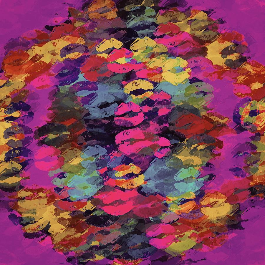 Pink Red Yellow And Purple Kisses Lipstick Abstract Background