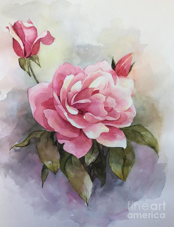 Pink Rose Painting by Ekaterina Mortensen
