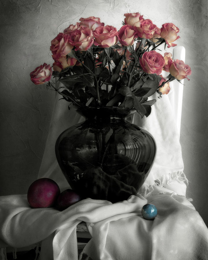 Pink Roses and Fruit by Sandra Selle Rodriguez