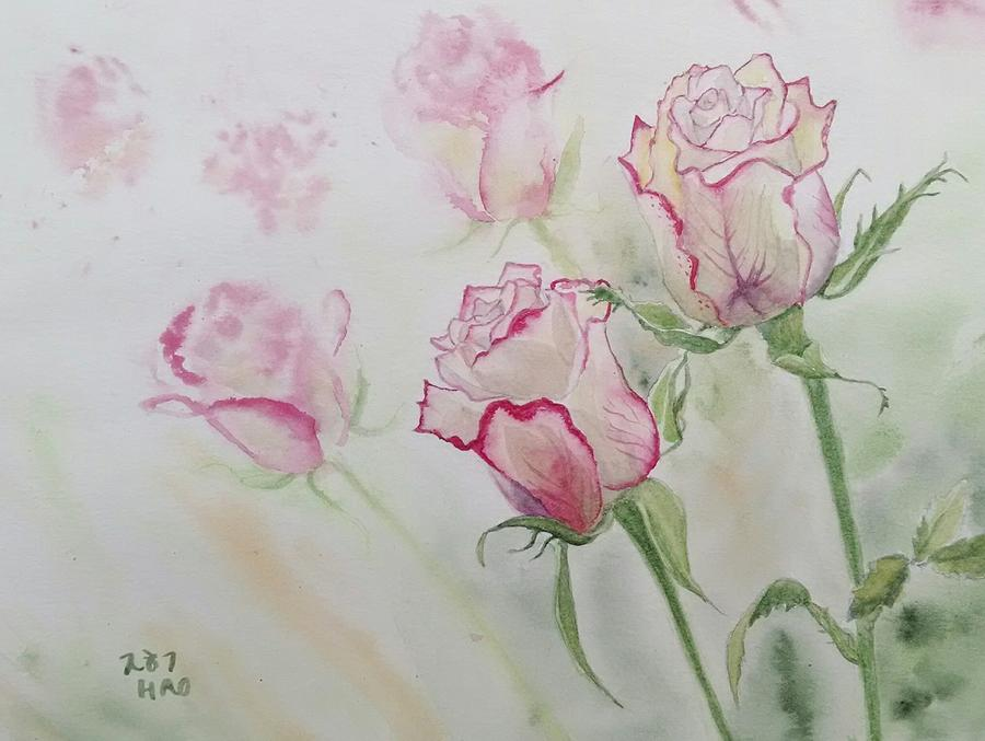 Pink Roses Painting by Helian Osher