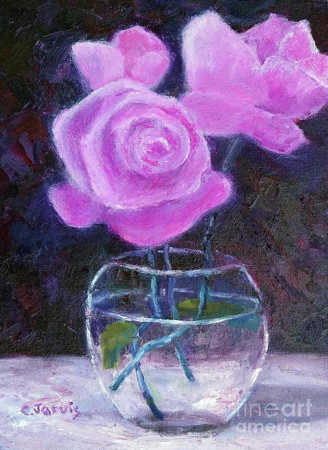 Pink Roses in Glass Vase by Carolyn Jarvis