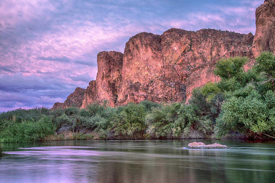 Pink Salt River Reflections Sunset by Dave Dilli