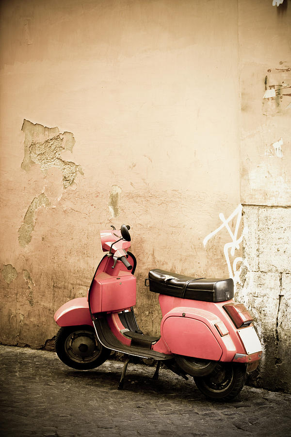Pink Scooter And Roman Wall, Rome Italy Photograph by Romaoslo