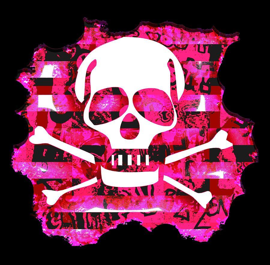 Pink Skull Crossbones Graphic by Roseanne Jones