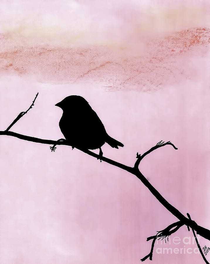 Bird Drawing - Pink - Sparrow - Silhouette by D Hackett
