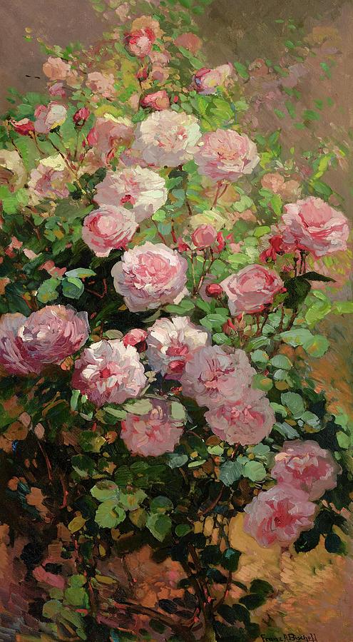 Bischoff Painting - Pink Sun-dappled Roses by Franz Arthur Bischoff