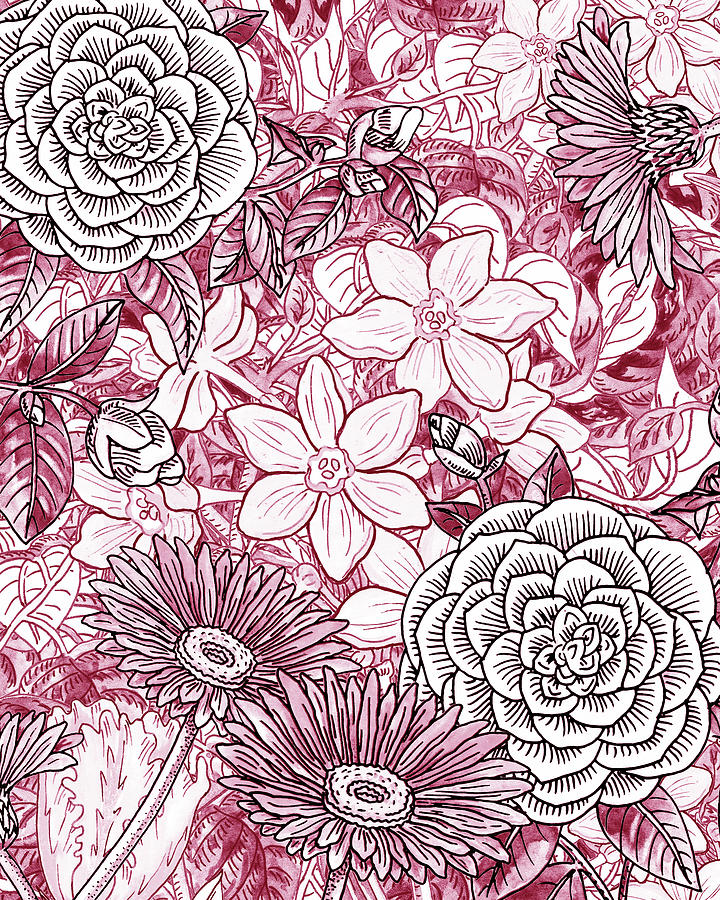 Pink Painting - Pink Watercolor Botanical Flowers Garden Flowerbed I by Irina Sztukowski