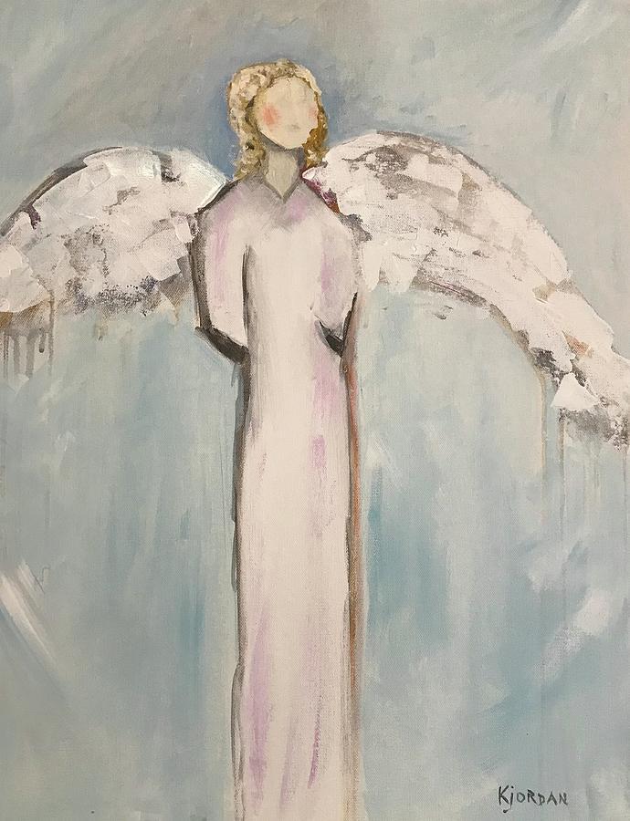 Angel Painting - Pinky by Karen Jordan