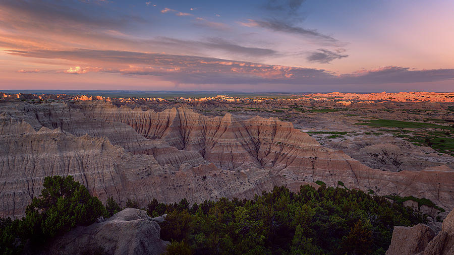 Pinnacles Overlook Sunrise Badlands National Park South Dakota II by Joan Carroll
