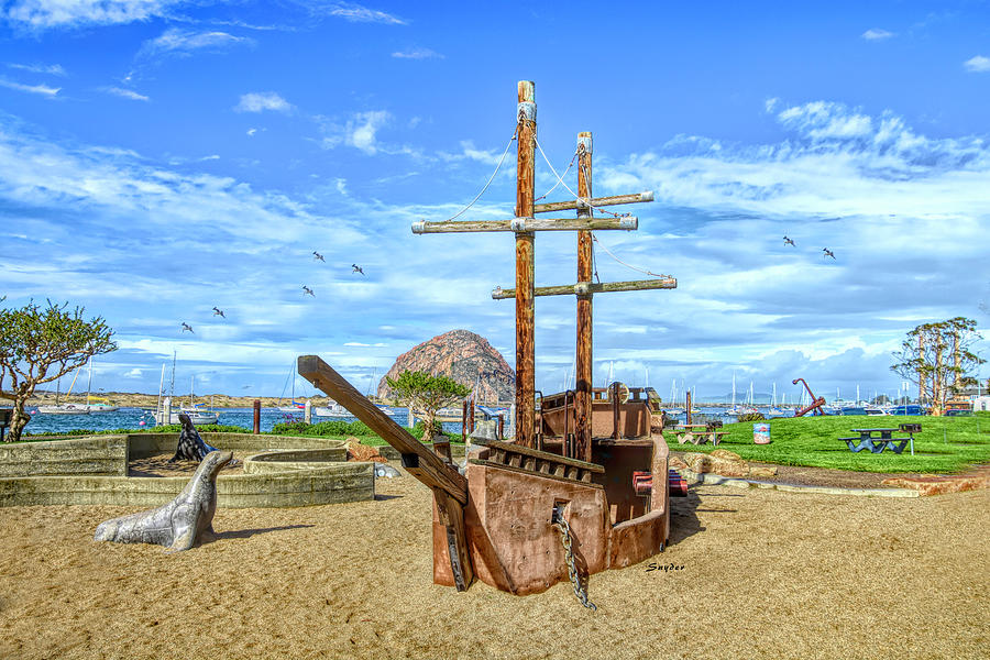 Pirate Ship at Morro Rock Large by Floyd Snyder