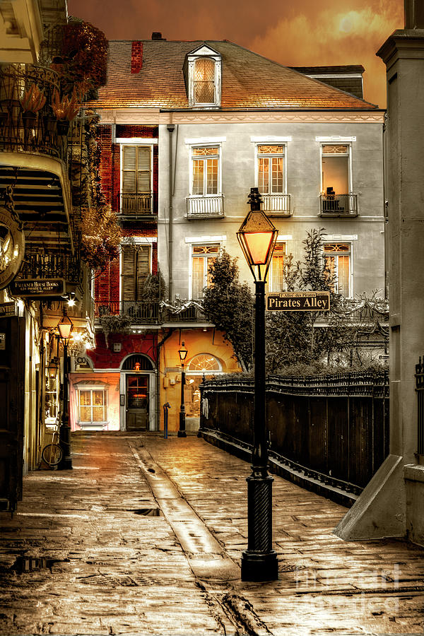 French Quarter Architecture Photograph - Pirates Alley Sepia by Alex Demyan