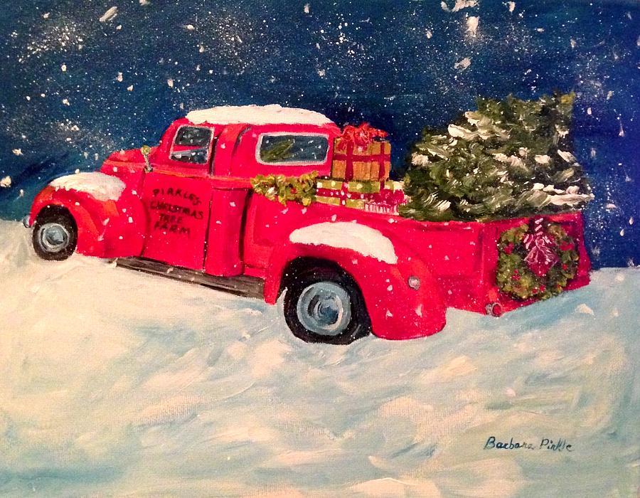 Old Truck With Christmas Tree Painting.Pirkle S Christmas Tree Farm