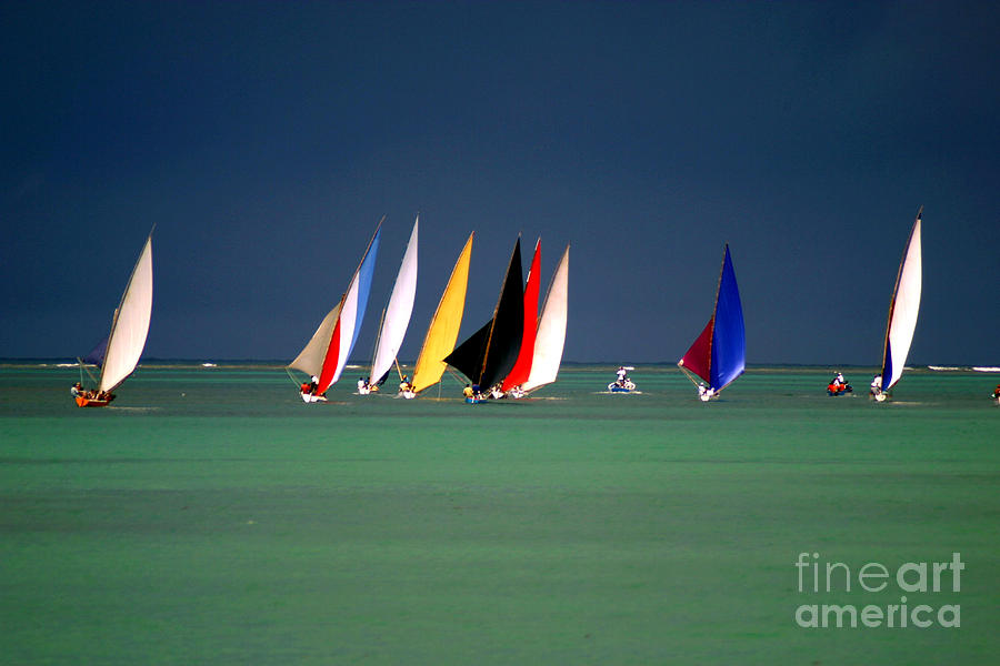 Sailboat Photograph - Pirogues On The Horizon In Front Of by Paul Banton