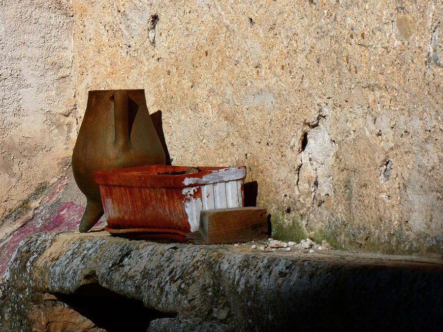 Footed Vase Olla and Basket Still Life by Alan Socolik