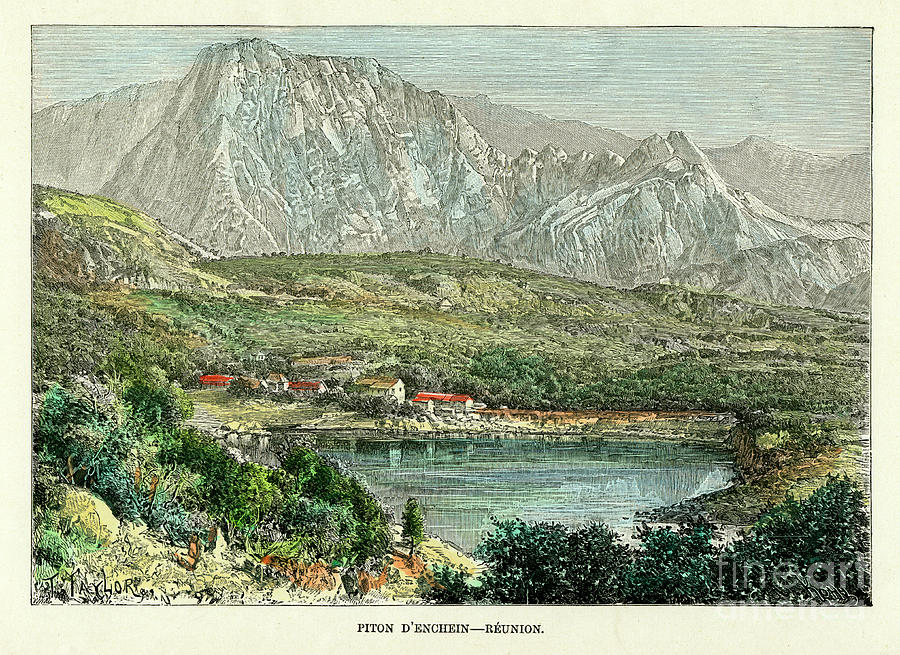 Piton D Enchein, Reunion, C1880.artist Drawing by Print Collector
