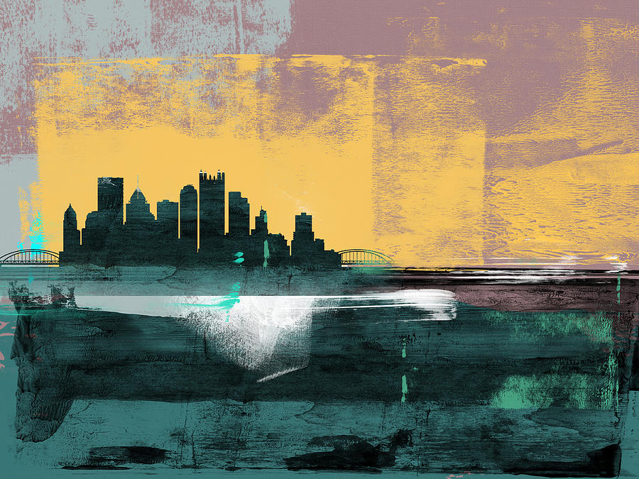 Pittsburgh Mixed Media - Pittsburgh Abstract Skyline I by Naxart Studio