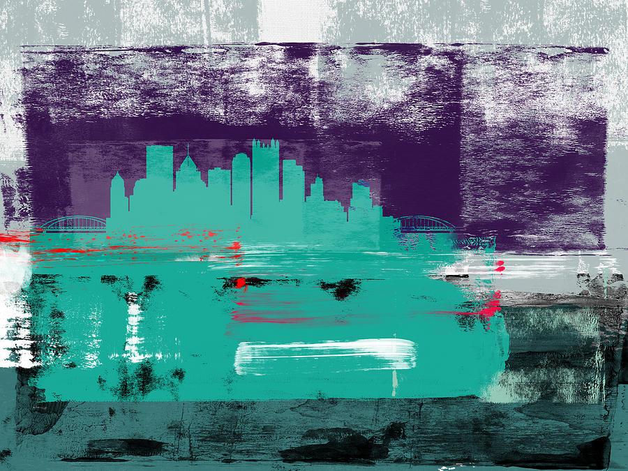 Pittsburgh Mixed Media - Pittsburgh Abstract Skyline II by Naxart Studio