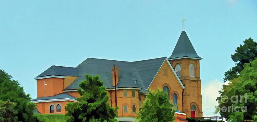 Pittsburgh Area Church on a Hill by Roberta Byram