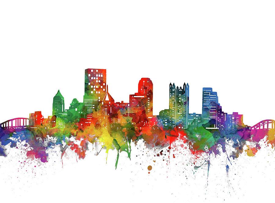 Pittsburgh City Skyline Watercolor Digital Art