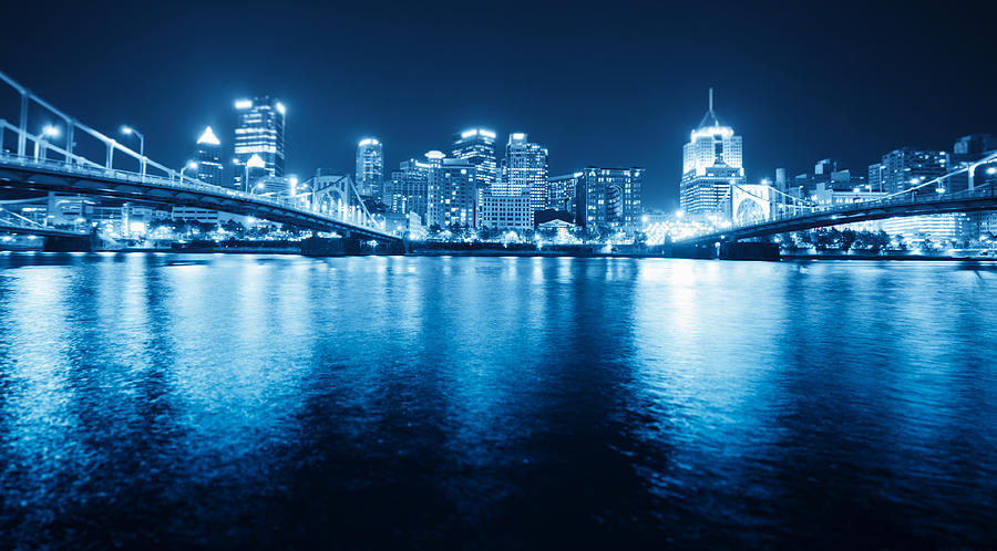 Pittsburgh Skyline View By Night Photograph by Franckreporter