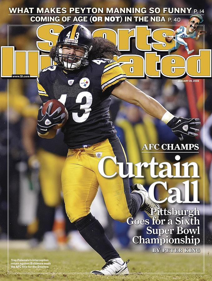 Pittsburgh Steelers Troy Polamalu, 2009 Afc Championship Sports Illustrated Cover Photograph by Sports Illustrated