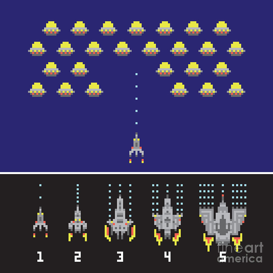 Plane Digital Art - Pixel Art Style Space War And Spaceship by Dmitriylo