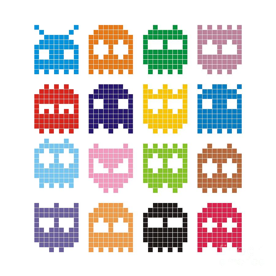 Symbol Digital Art - Pixel Monster Icon by Lazyvector