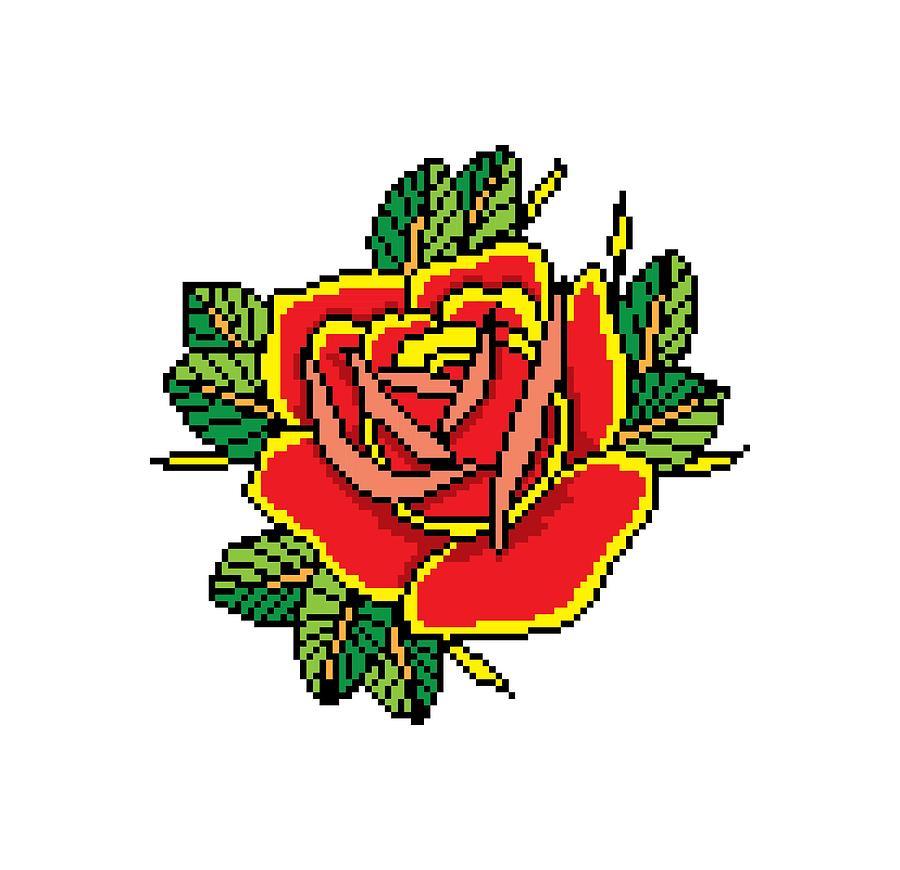 Pixel Rose Drawing By Fernando Trinkenreich