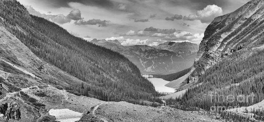 Plain Of Six Glaciers Afternoon Panorama Black And White by Adam Jewell