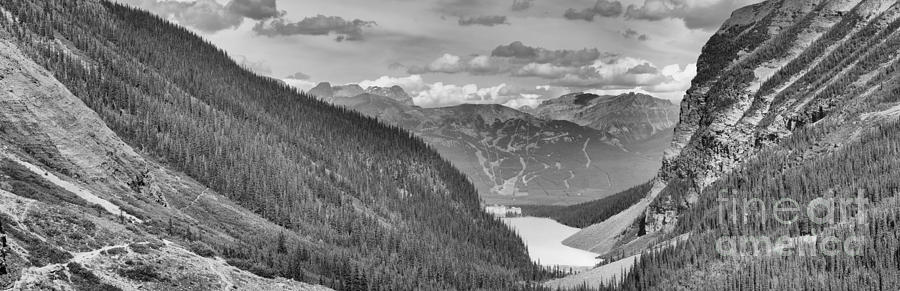 Plain Of Six Glaciers Panorama 2019 Black And White by Adam Jewell