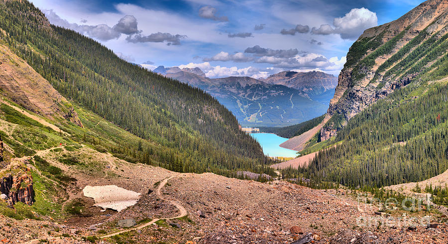 Plain Of Six Glaciers Panorama by Adam Jewell