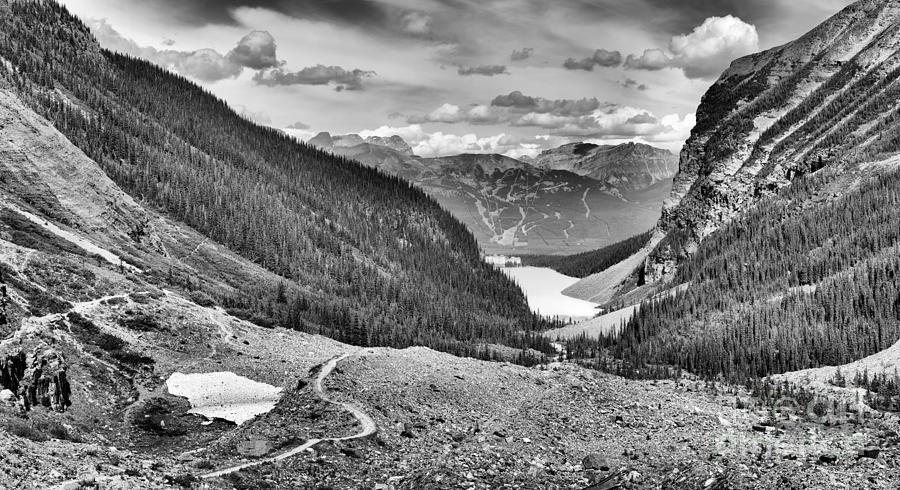 Plain Of Six Glaciers Panorama Black And White by Adam Jewell