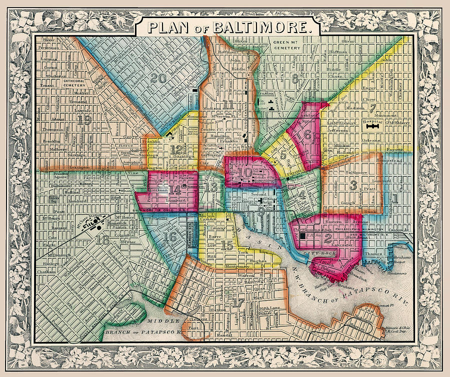 Plan of Baltimore Antique Map 1863 by Phil Cardamone