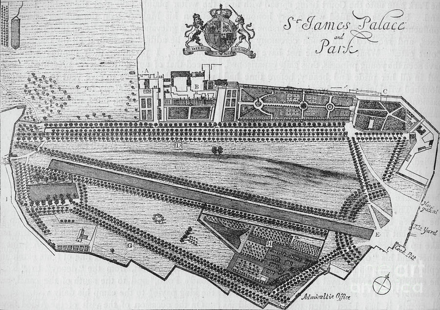 Plan Of St Jamess Palace And Park Drawing by Print Collector