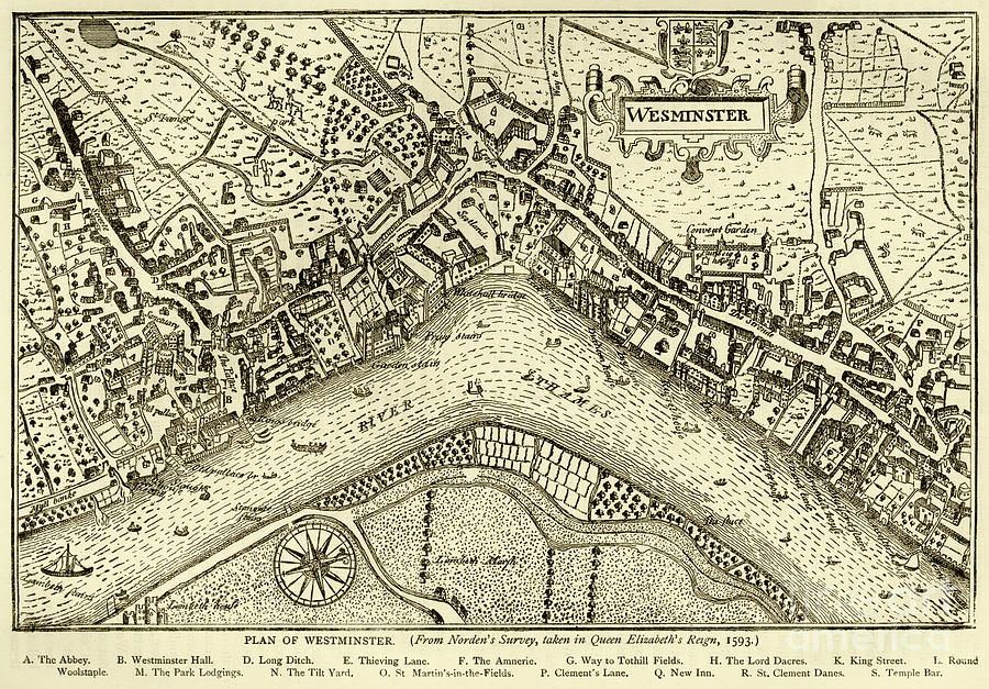 Plan Of Westminster, 1593 Digital Art by Whitemay