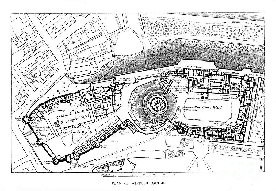 Plan Of Windsor Castle Drawing by Print Collector