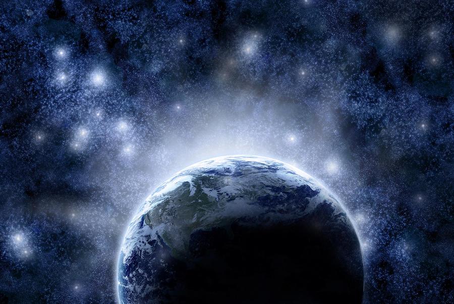 Planet Earth And Stars Digital Art by Nicholas Monu