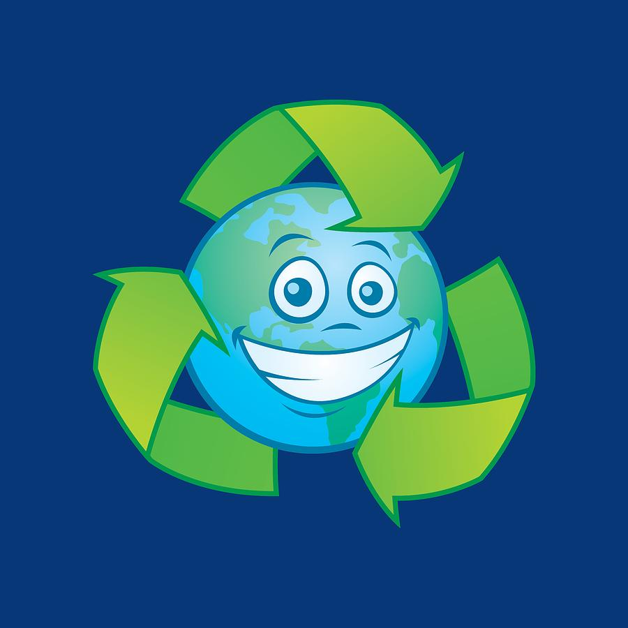 Planet Earth Recycle Cartoon Character Digital Art