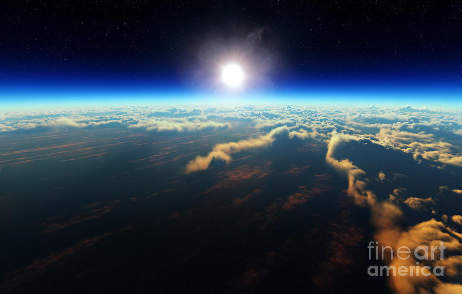 Atmosphere Digital Art - Planet Earth Sunrise Over Cloudy Ocean by Johan Swanepoel
