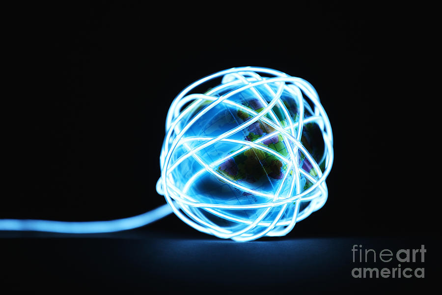 Planet Earth Surrounded By Glowing Lines Photograph by Stanislaw Pytel