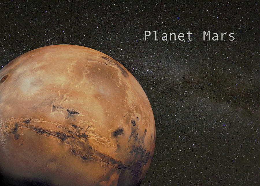 Planet  Mars on Milky Way Background by Karen Foley