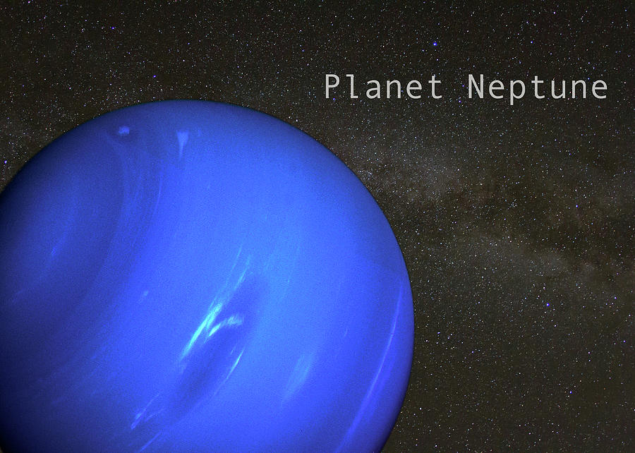 Planet Neptune on Milky Way Background by Karen Foley