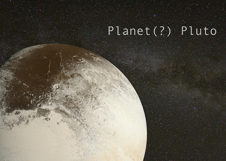 Planet Pluto on Milky Way Background by Karen Foley