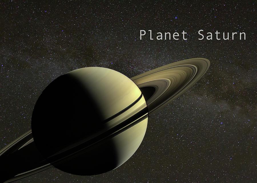 Planet Saturn on Milky Way Background by Karen Foley