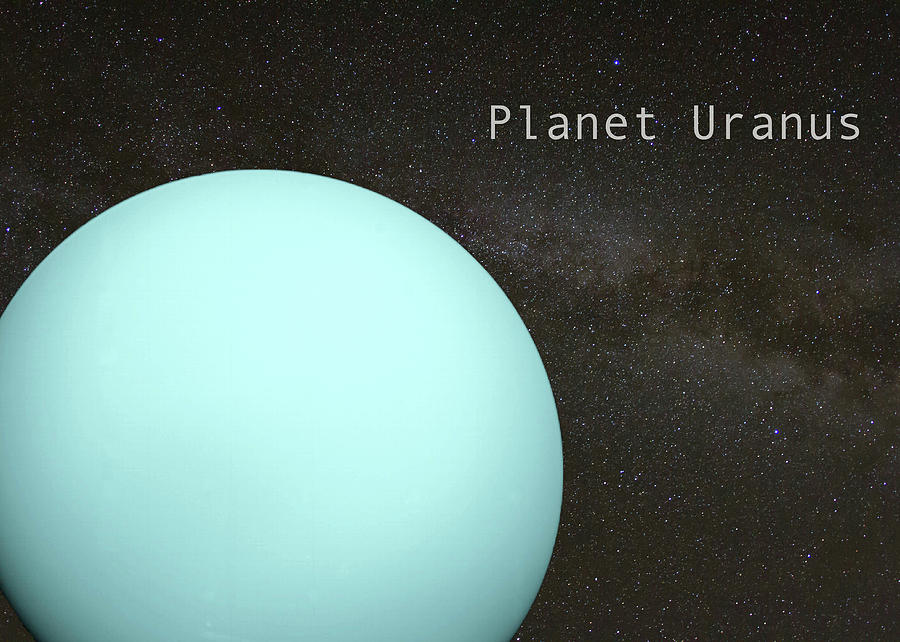 Planet Uranus on Milky Way Background by Karen Foley