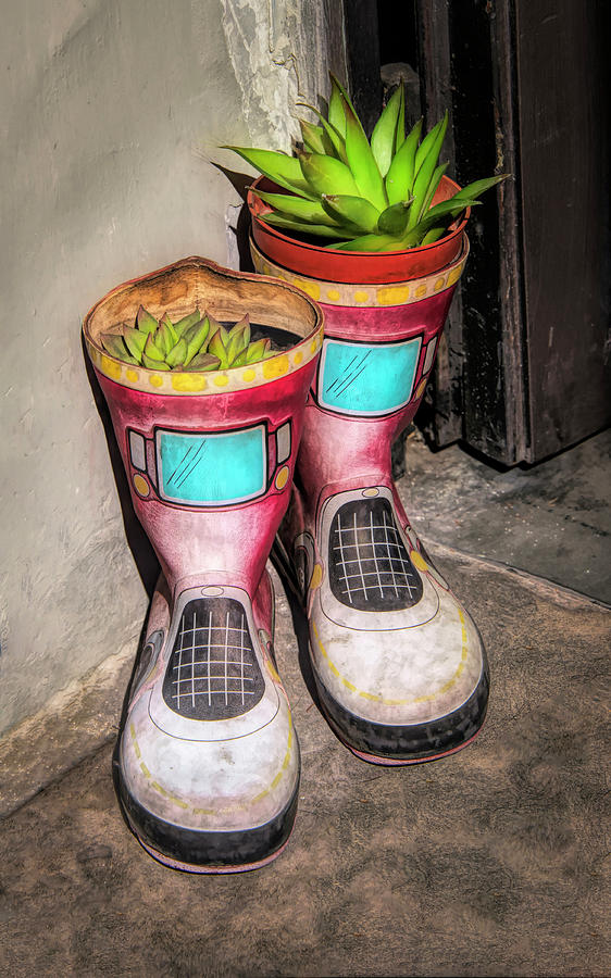 Planter Boots At Door In Florence Italy by Gary Slawsky