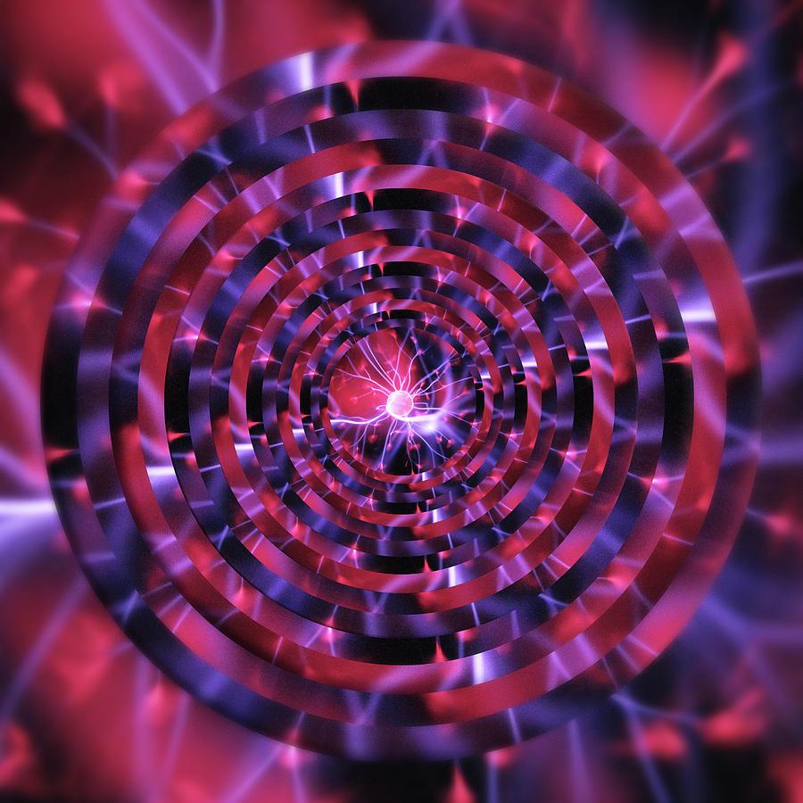 Plasma Ball Red Circles by Pelo Blanco Photo